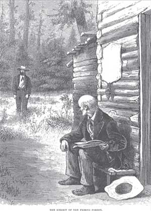 John Muir and John Nelder meeting at Nelder Grove (Fresno Grove). This engraving was first published in Harper's New Monthly magazine and Muir's book Our National Parks.